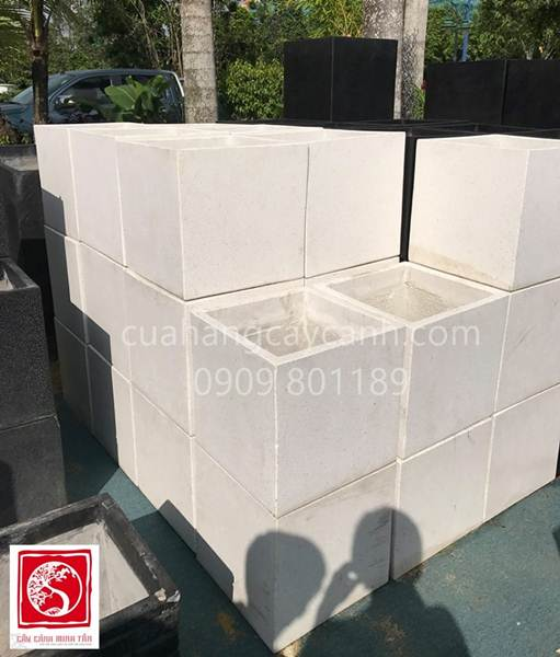 Chậu đá mái vuông trắng